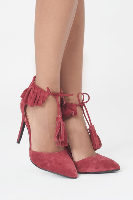 Suede Ruffle Pointed Stiletto in Red
