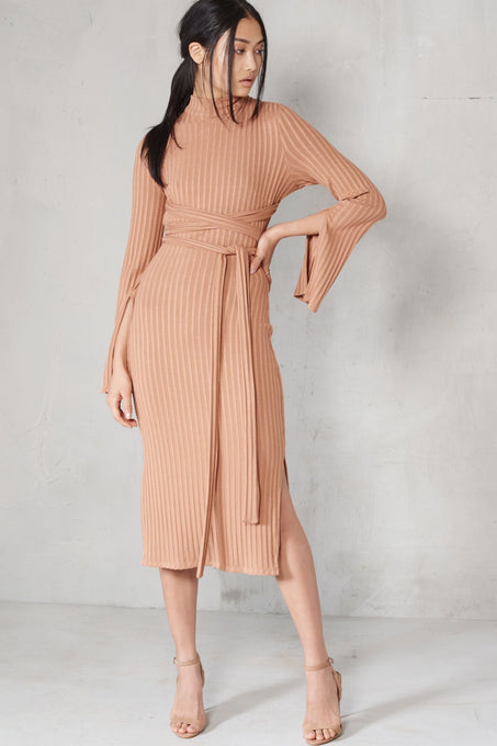 Camel Rib Knit Open Back Wrap Around Belt Midi Dress