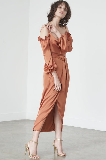 Tie-Front Bardot Dress in Rust Satin