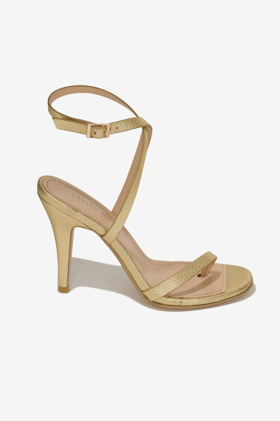 Leather Heeled Sandals in Gold