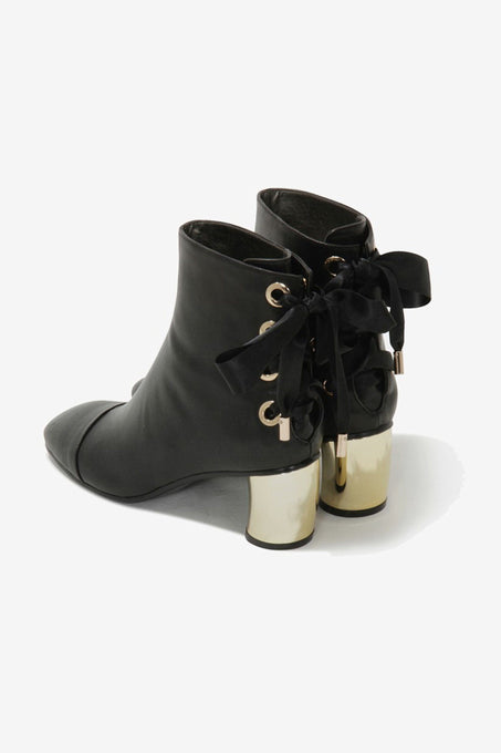Black Leather Metallic Heel Lace Up Ankle Boots