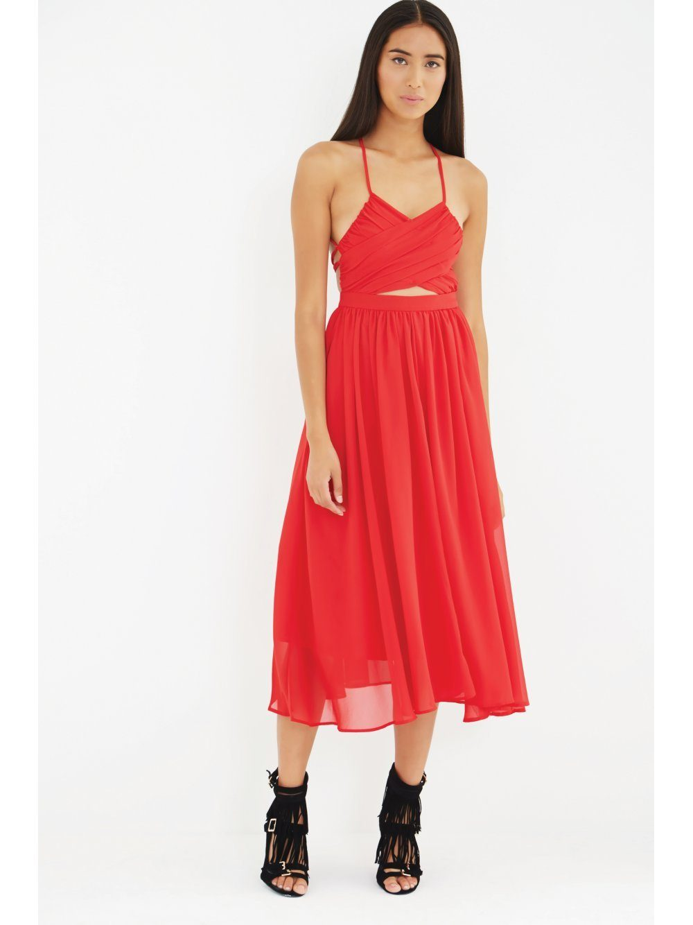 Red Wrap Lace Up Floaty Midi Dress