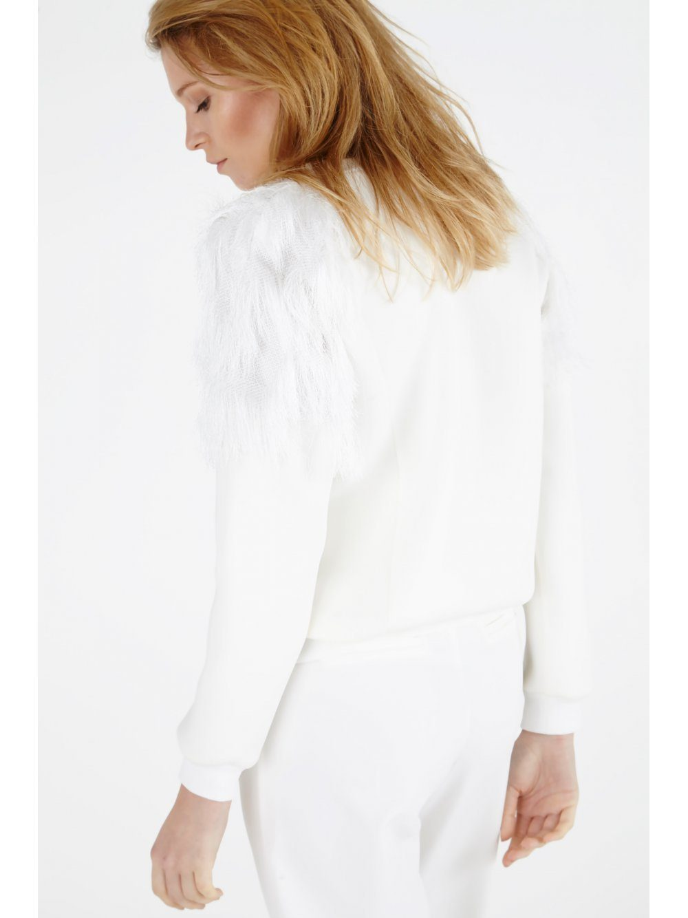 White Cut-Out Detail Tassel Shoulder Sweater