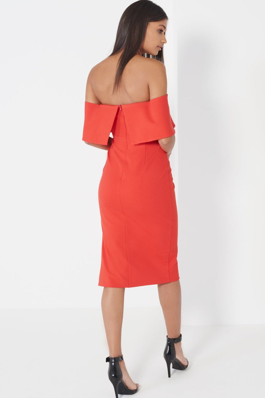 Red Deep Bandeau Asymmetric Hem Midi Dress
