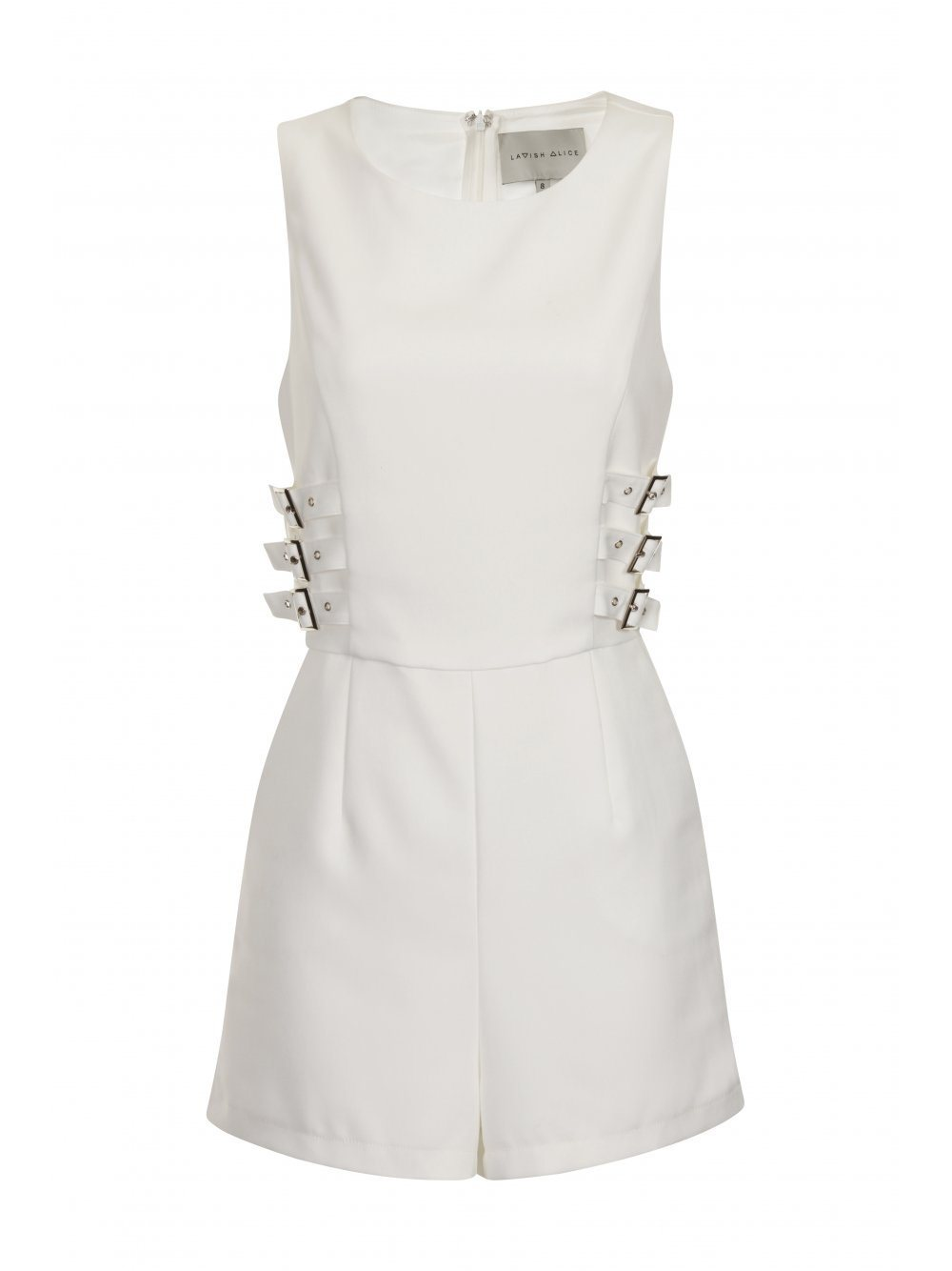White Utility Strap Detail Racer Back Playsuit