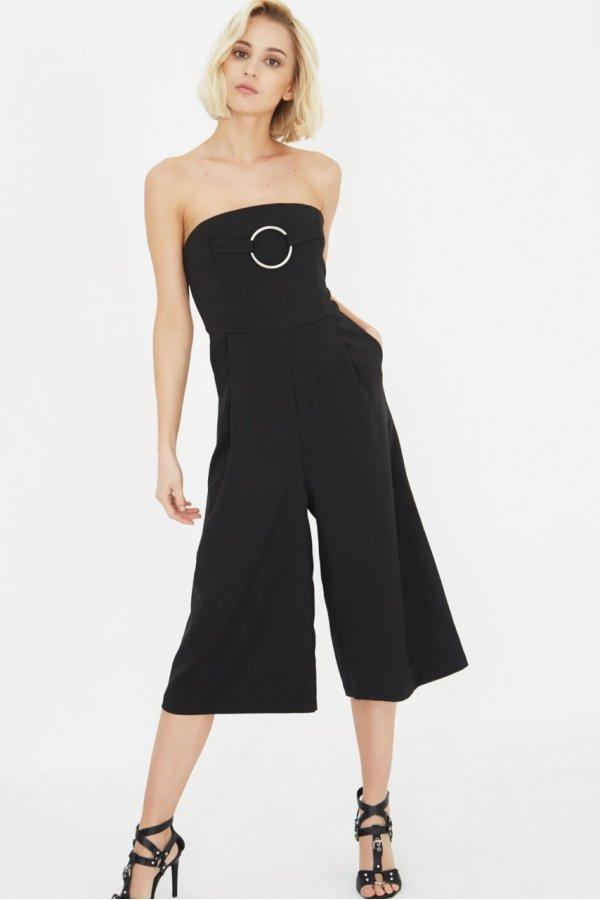 Black Bandeau Metal Ring Detail Culotte Jumpsuit