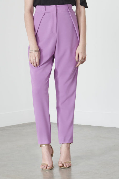 Button Tab Tailored Trousers in Violet