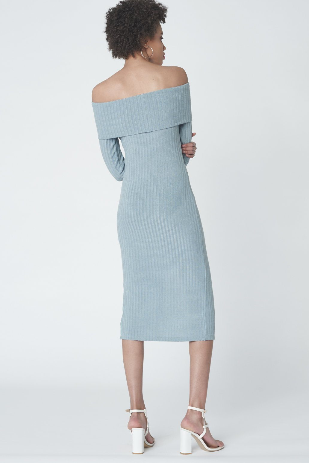 Criss Cross Strapless Dress in Powder Blue Knit