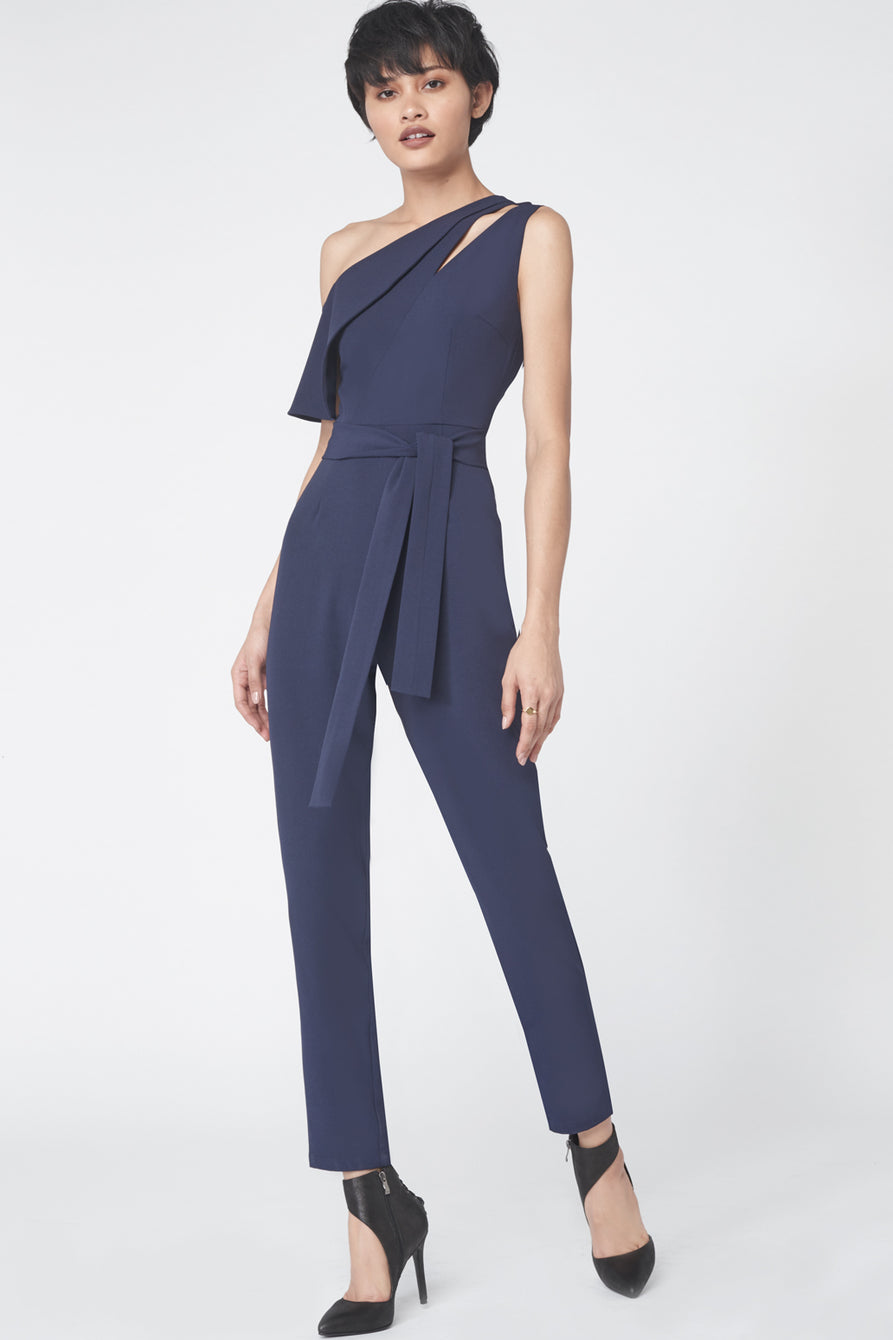 One Shoulder Tailored Jumpsuit in Navy