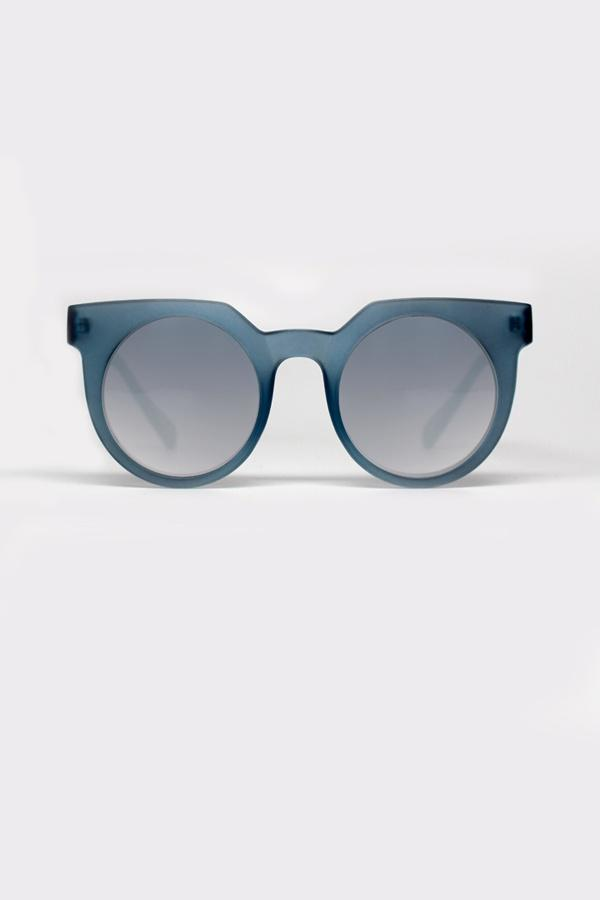 FRANKIE Grey/Blue Round Sunglasses