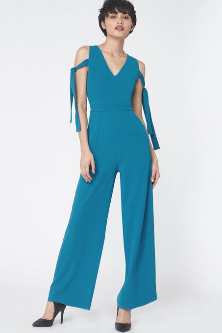 Tie Sleeve Jumpsuit in Teal
