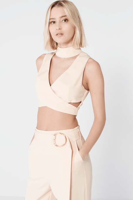 Nude Keyhole High Neck Crossover Crop Top