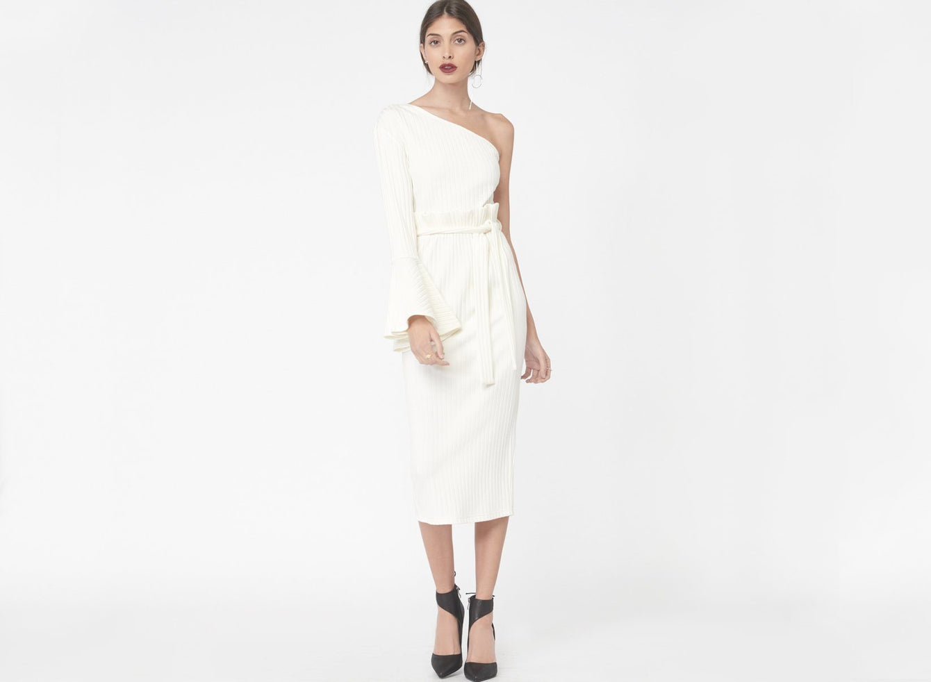 One Shoulder Paperbag Waist Rib Knit Dress in Ivory