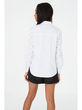 White Eyelet Sleeve Dipped Hem Shirt