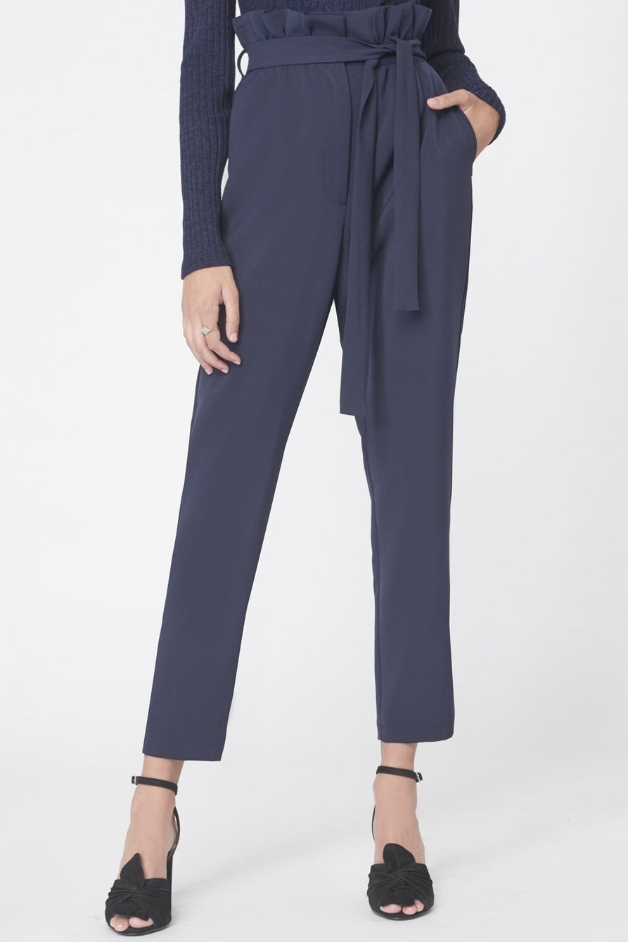 89556e6d38e2 Paperbag Waist Tapered Trousers in Navy – Lavish Alice