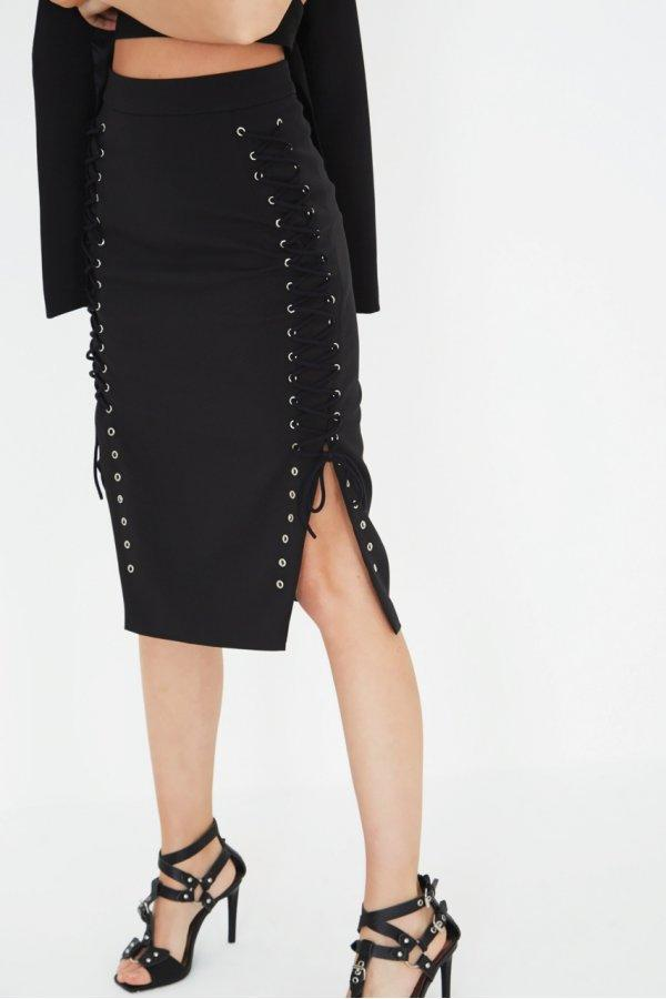 Black Lace Up Side Pencil Skirt