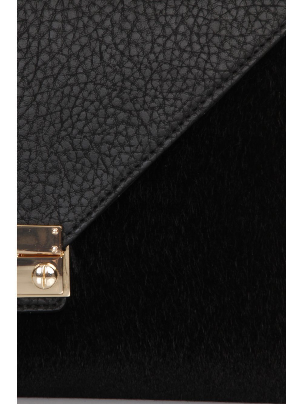 Black Faux Pony Hair Clutch Bag