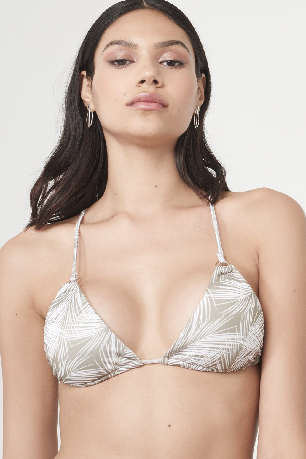 Khaki Palm Leaf Print Cross Back Triangle Bikini Top