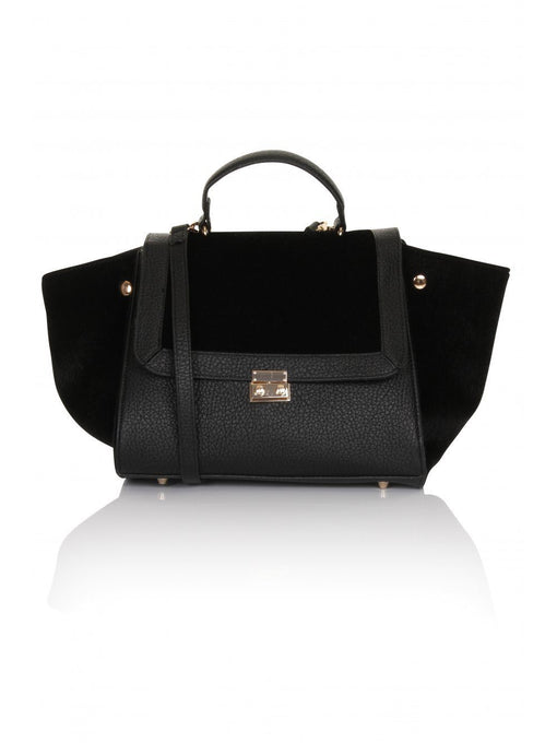 Black Faux Pony Hair Oversized Wing Tote Bag