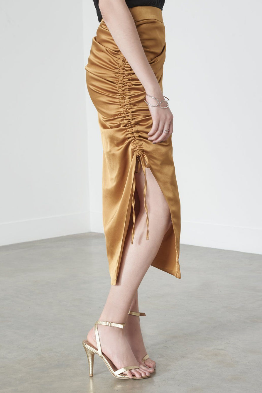 Drawcord Pencil Skirt in Gold Satin
