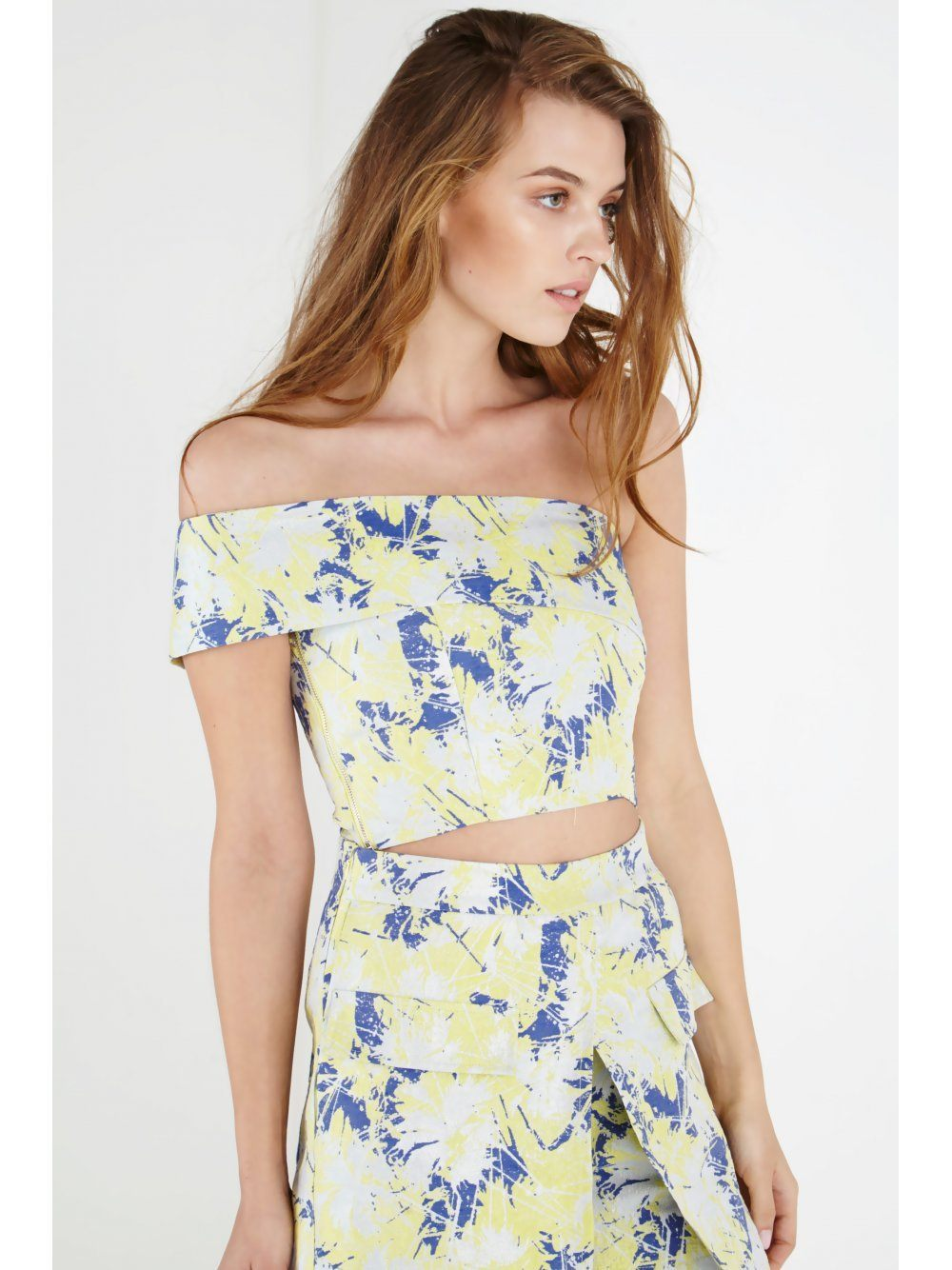Lemon Iridescent Print Asymmetric Crop Top