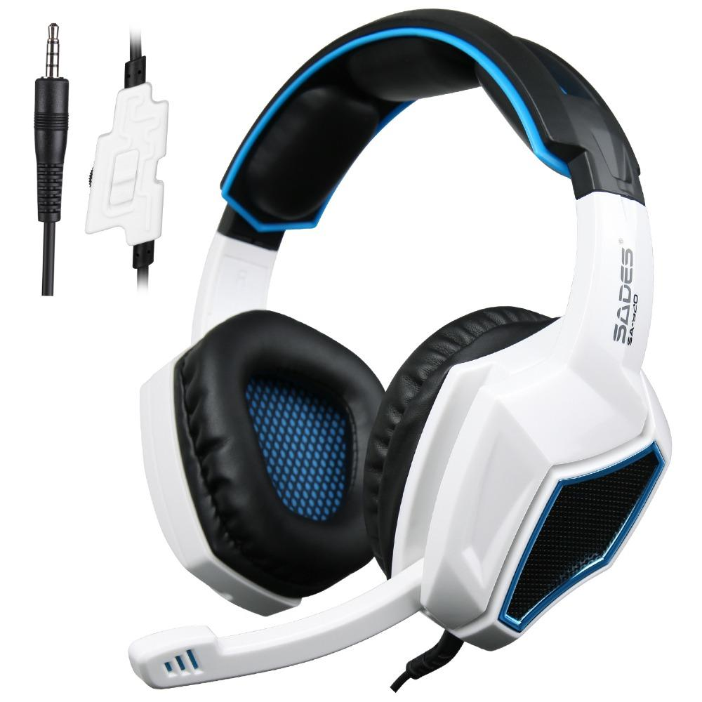 White and blue gaming headphones with microphone.