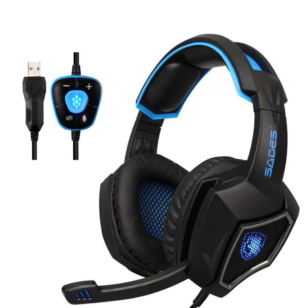 Black and blue gaming headphones with microphone.