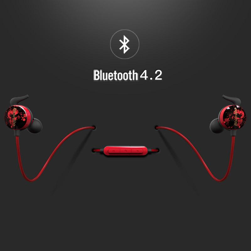 Showcasing the red and black Bluedio AI Bluetooth earphones, and their Bluetooth capabilities.