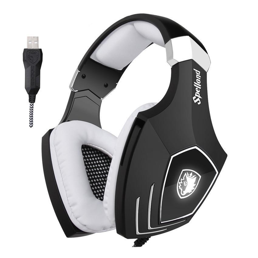 Black and white over the ear headphones with USB connection.
