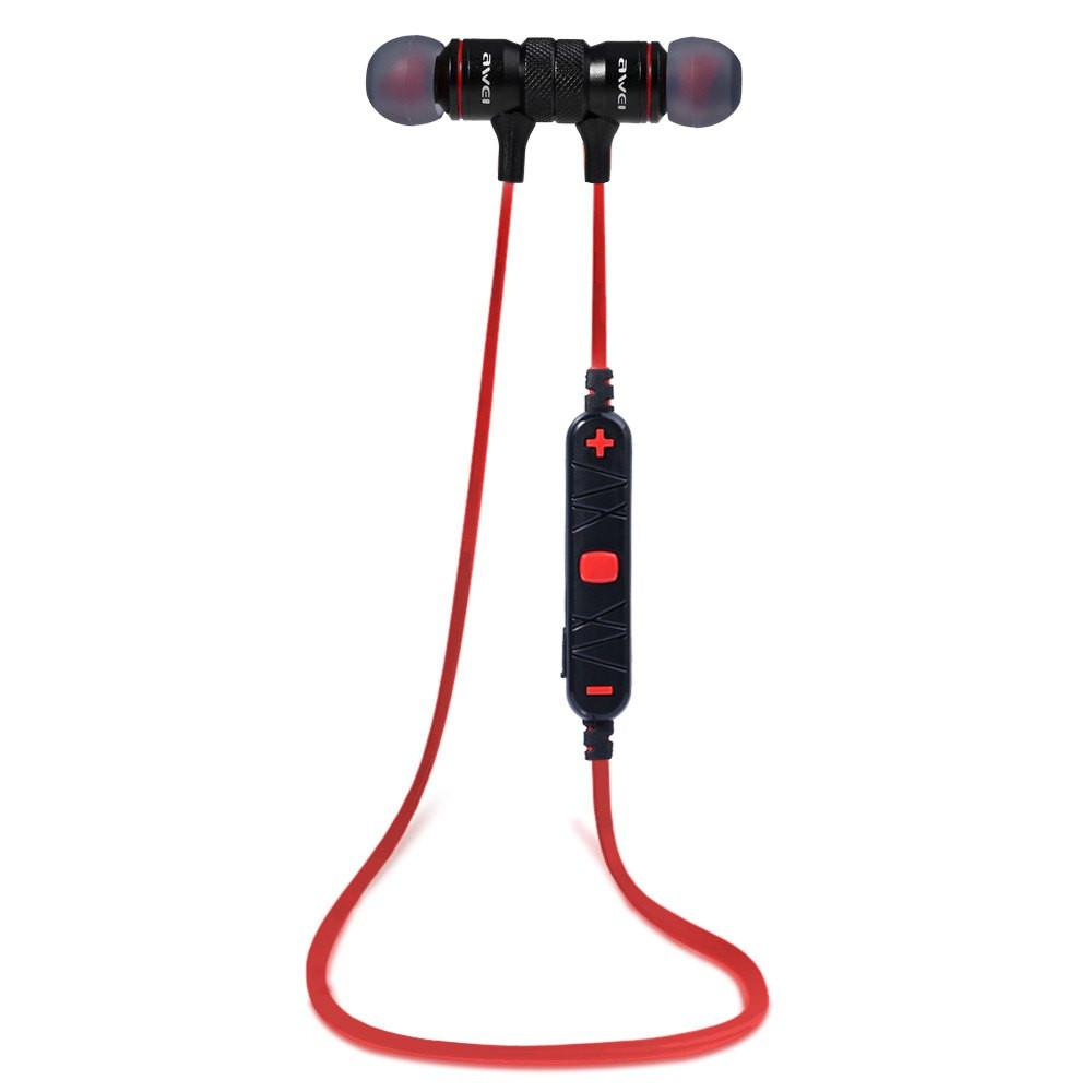 Red and black Bluetooth earphones with in-line controls!