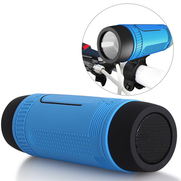 Blue bike mounted portable speaker flashlight.