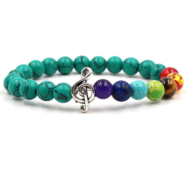 Turquoise stone & colored bead music bracelet with silver treble clef