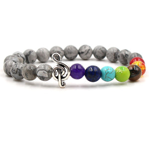 Gray stone & colored bead music bracelet with silver treble clef
