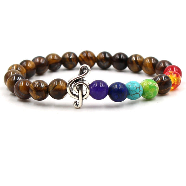 Coffee colored stone & colored bead music bracelet with silver treble clef