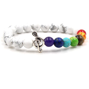 Marbled stone & colored bead music bracelet with silver treble clef