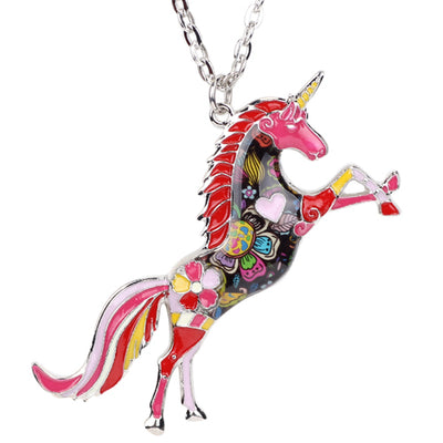 Collier Pendentif Licorne Emaillée