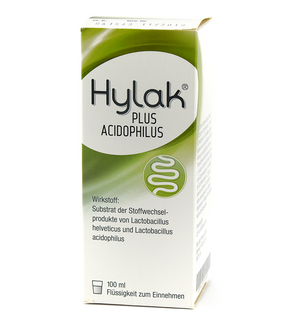 Hylak Plus Acidophilus. The sterilized concentrate of the metabolic products of lactic acid –producing organisms, with metabolic products of Gram-positive and Gram-negative small and large intestine symbionts, biosynthetic lactic acid, lactate buffer salts, amino acids, short-chain, volatile fatty acids.