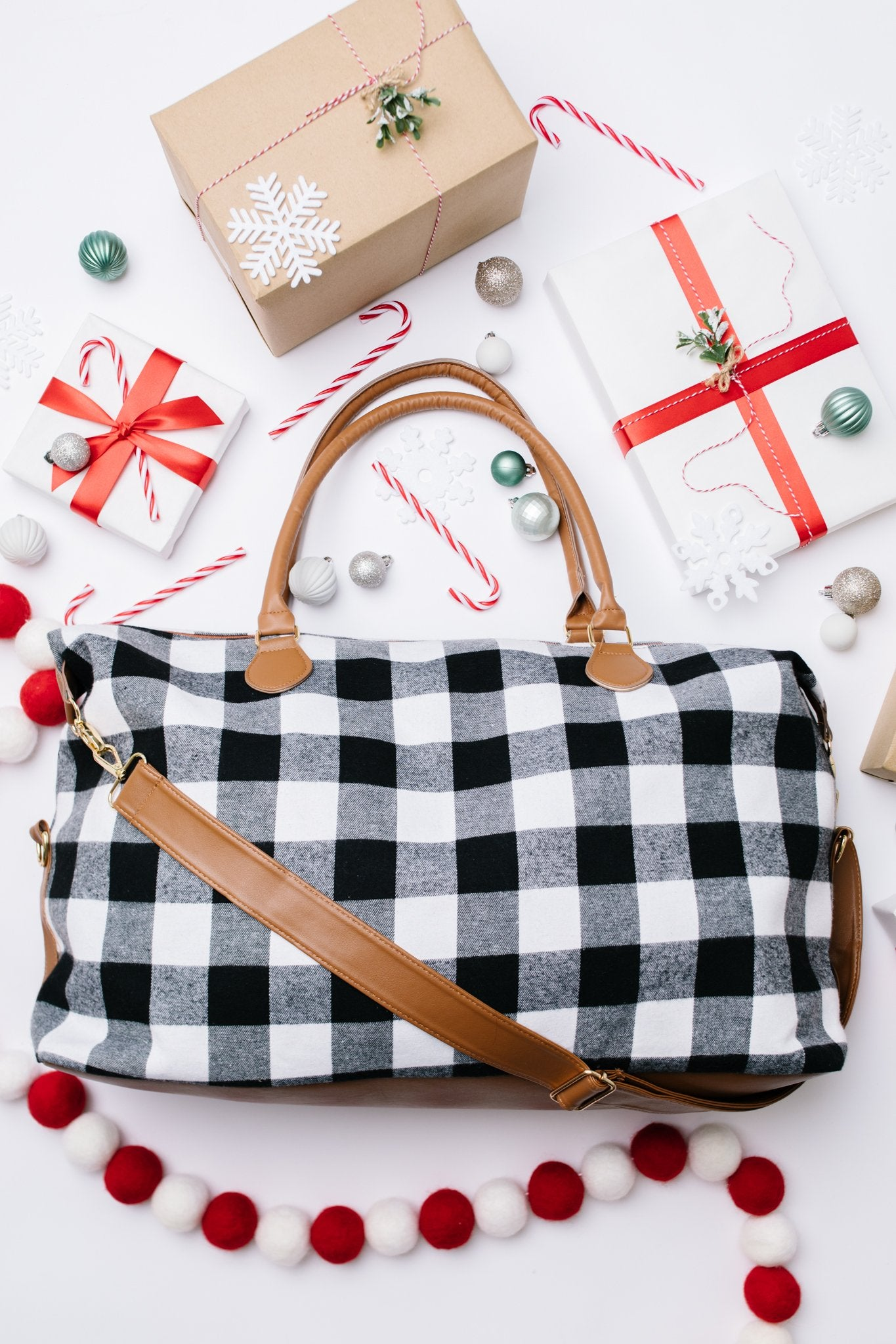 Buffalo Plaid Holiday Weekender Bag
