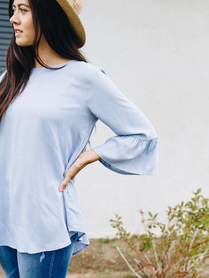 Linen-Like Trumpet Sleeve Blouse In Pale Blue