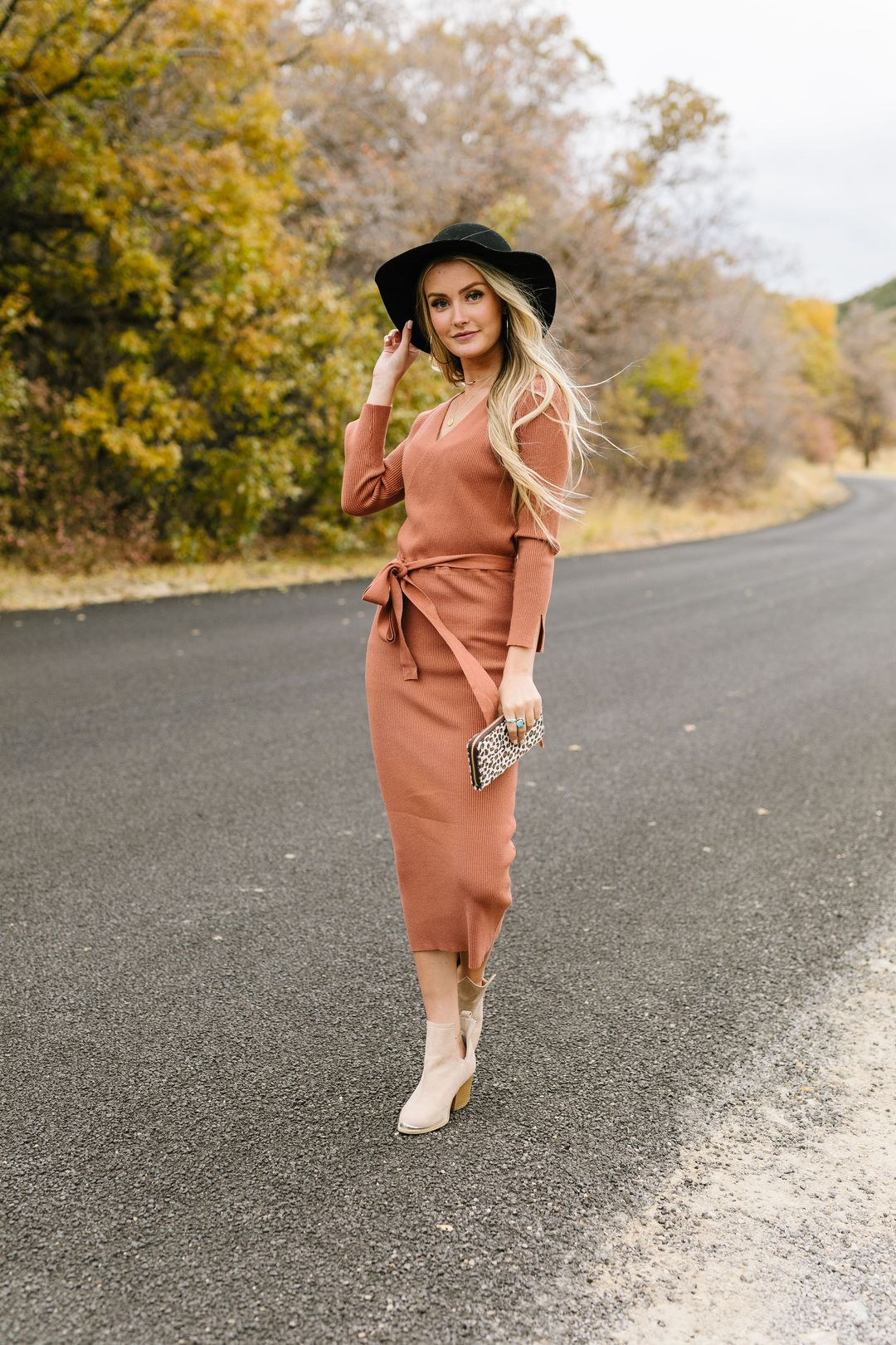 Ribbed + Wrapped Sweater Dress