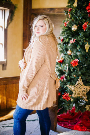 Cable Knit Belted Cardigan In Caramel