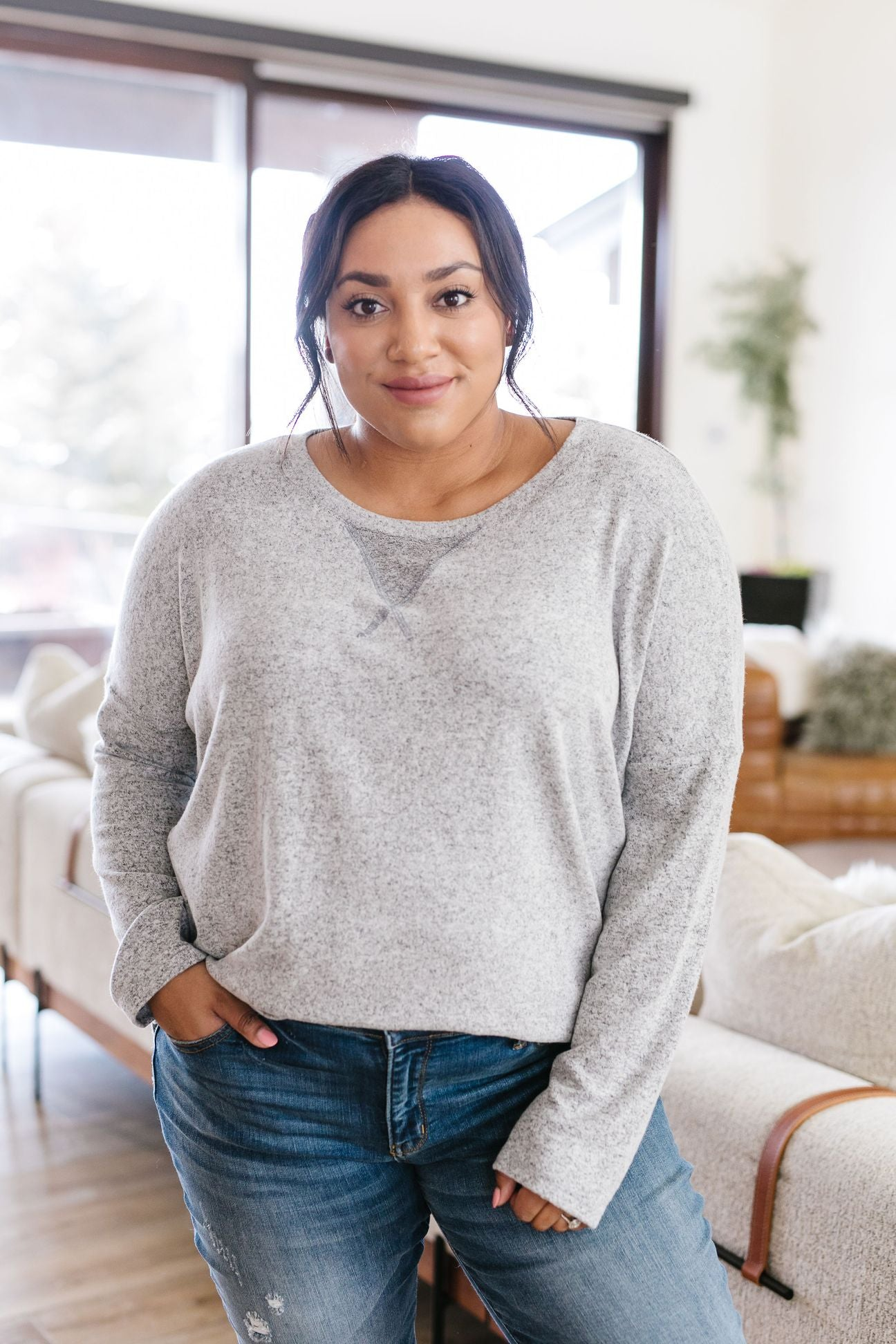 Side Hustle Gray Top