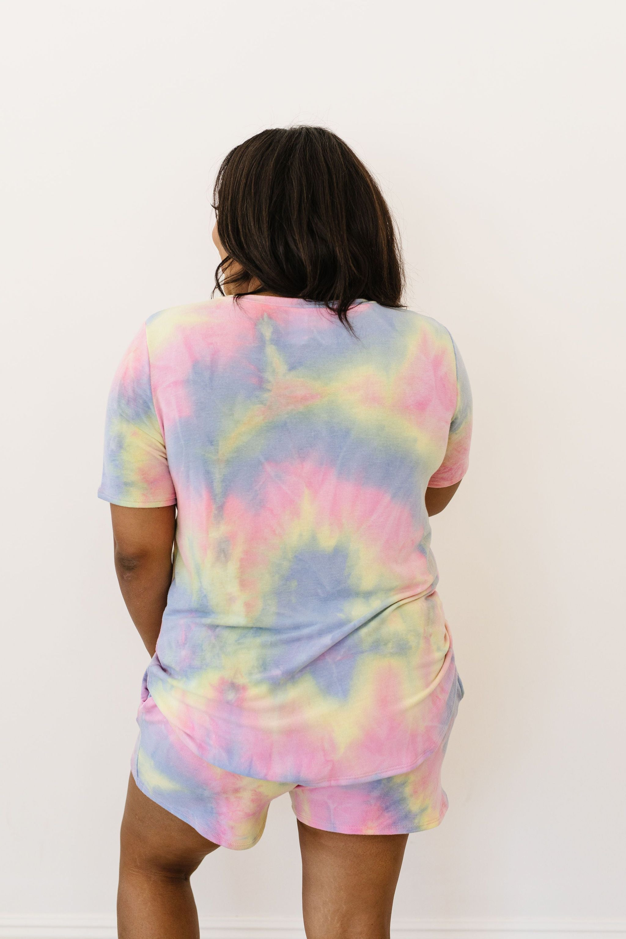 Brushed Knit Tie Dye Lounge Top In Blue