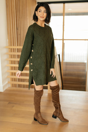 Diamond Details Sweater Dress in Olive