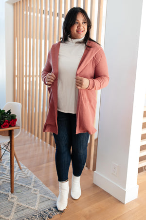 Hooded and Laced Cardigan in Blush