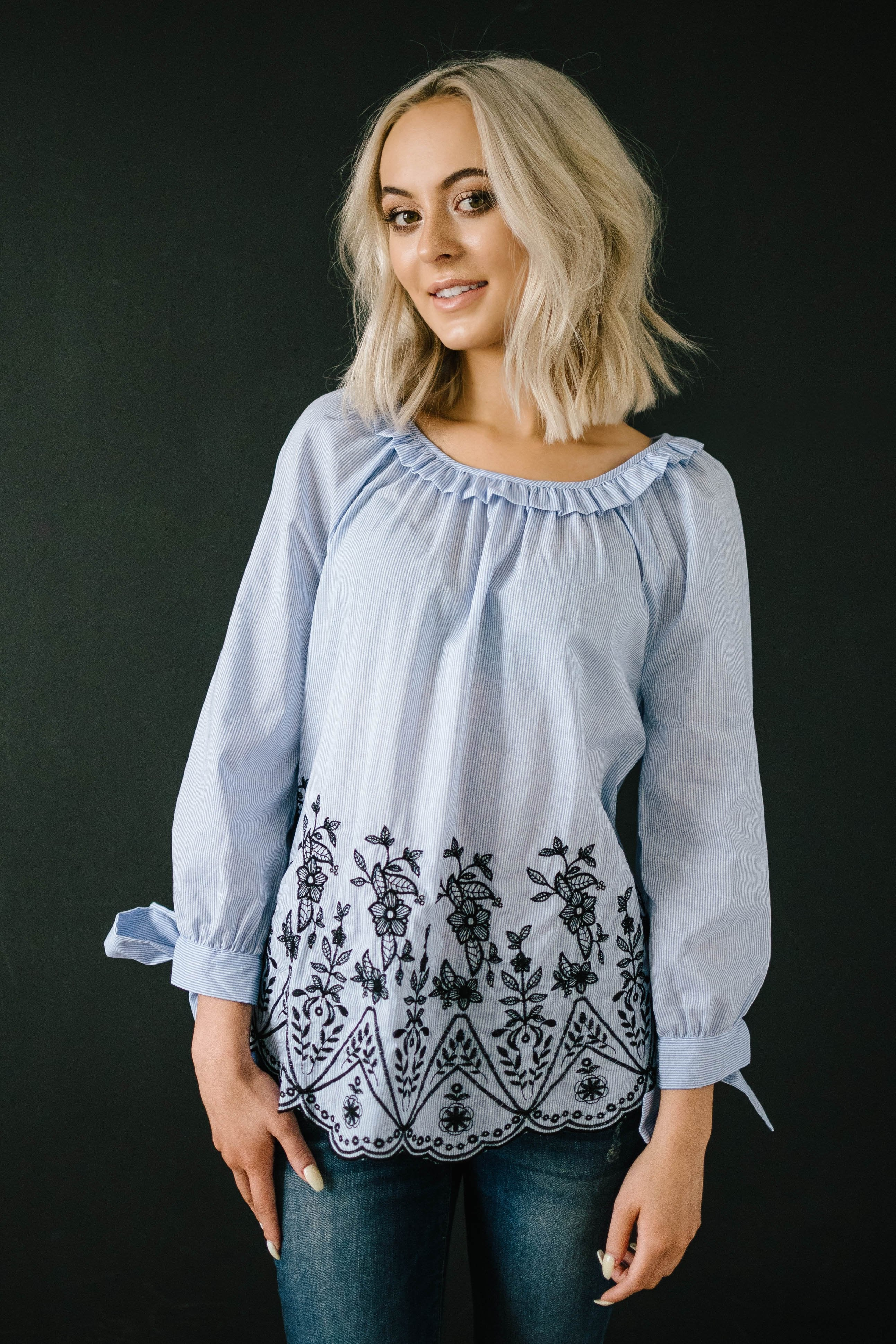 Pins and Flowers Top in Blue