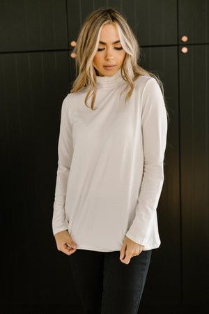 Plain Jane Turtle Neck Top in White