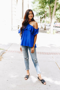 V Halter Ruffles Cold Shoulder Blouse