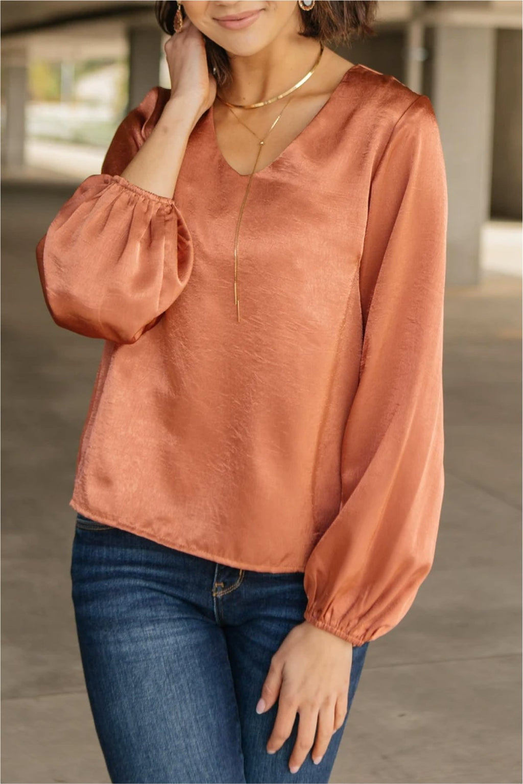 Silky Satin V-Neck Blouse In Bronze