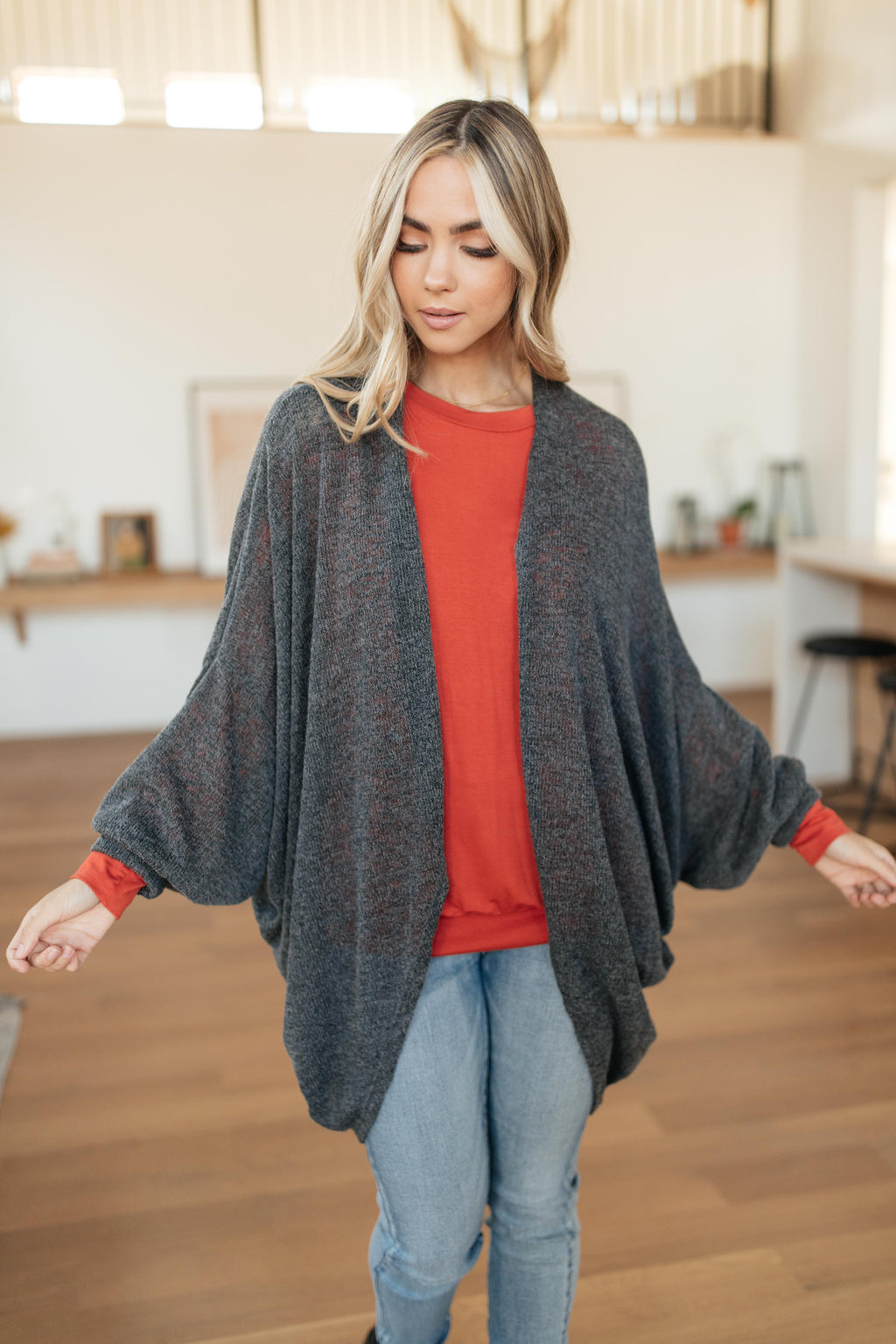 Slouchy Vibe Cardigan in Charcoal